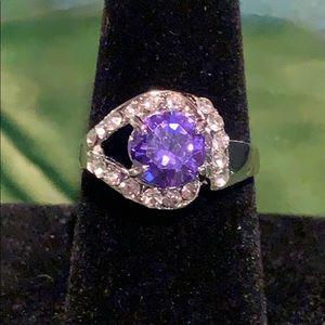 💥5/$25💥  Purple Emerald/Silver Ring Sz 8.5